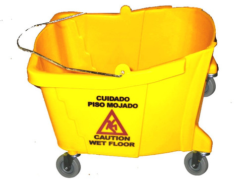 35 qt. Bucket with Bilingual Caution Sign. This plastic bucket accepts a squeeze wringer.