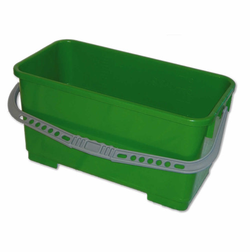 """Green polyethylene rectangular 6 gallon bucket, heavy-duty construction handles up to an 18"""" FlatMop. This Perfect Window Washing Pail and with the tight lid will hold your cloths and pads in solution.  The color is green, and the dimensions are: 19.25"""" x 9.5"""" x 9.5"""".  Swivel Wheel Kit are available on this website; also see  the Snap-On Lid."""