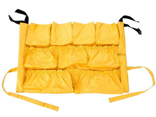 Caddy Bag in Market that Fits 32, 44, and 55 gallon round receptacles. 13 elasticized roomy pockets of various sizes to accommodate most cleaning supplies.