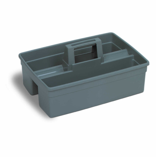 2 Sided Contractor Caddy in Plastic. Carry all your supplies from place to place. Has a tall rounded ergonomic handle with 3 compartments.