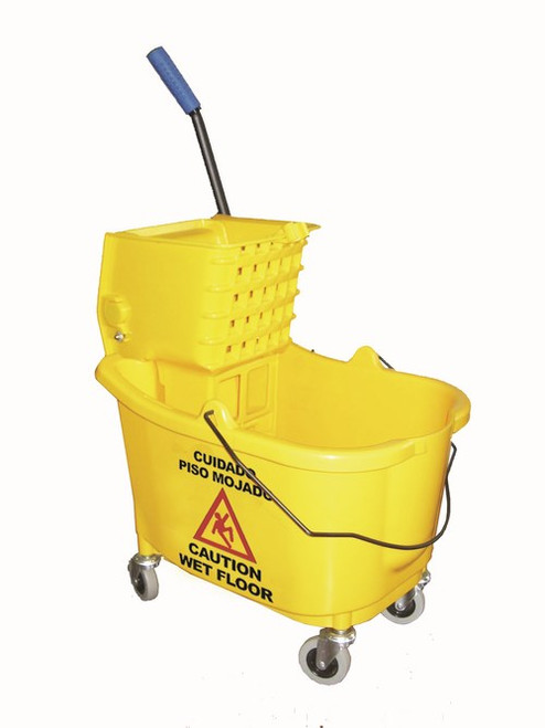 35 Qt. Bucket w/ Large Squeeze Wringer Combo-Long lasting Durable 35 Quart Elevated bucket ledge for wringer leverage.