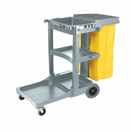 3 tier janitor cart with 25 gallon vinyl bag