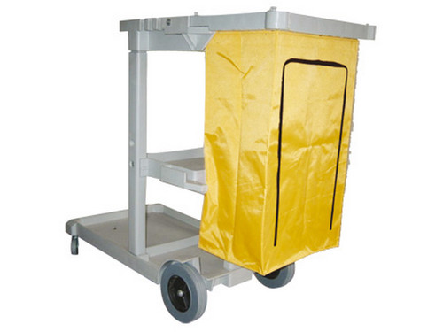 "Janitor Cart W/Heavy Duty Zipper Vinyl Bag.  Bottom shelf accommodates most buckets and barrels. Non-Marking 8"" rear wheels & 3"" swivel casters. Smooth, easy-to-clean surface."