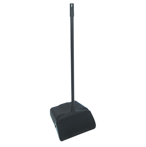 Professional Upright Lobby Dust Pan with wheels is Open Style, so no lid. Color is black.