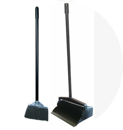 "Combo Set : Lobby Dustpan, 12"" durable plastic with rubber strip for good contact with floor, Lobby Broom w/ Synthetic Bristles, and Broom Clip"