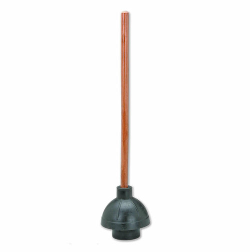 "Plunger with large 6"" rubber bell blows through clogs  and has a 21"" Wood Handle.Minimum Order: 2 plungers."