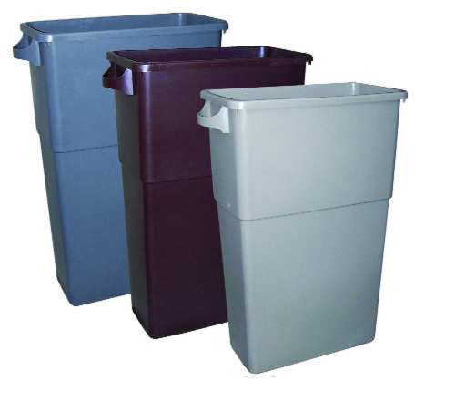 "23 gallon rectangular waste receptacle, 11"" x 23"" x 30"" in beige, brown, or gray color. The slim bin has a high capacity and comes with handle to provide easier lifting and carrying."
