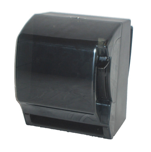 """Lever Roll Towel Dispenser is made of translucent smoke black resilient plastic. The unique variable towel slot panel eliminates wasted towels. Offers a double-latch metal lock with key. 300 C-fold, 500 M-fold capacity.  Compact, economical towel dispenser holds all types of roll towels having a standard 1.5"""" core; it accommodates most 8"""" wide rolls. Paper is dispensed in 5"""" increments."""