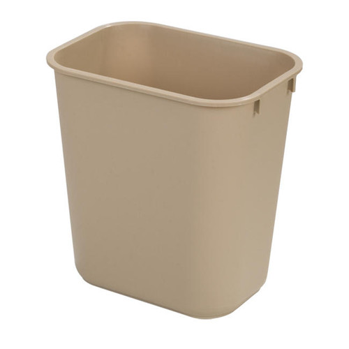 This soft-sided wastebasket comes in a lightweight 2 pounds at each; very durable. Color is  beige. Perfect for offices.  28 quart Soft-Side Wastebasket, USA Made 35 inches high, 15 inches long, 11 inches wide. Packed 4 each to order