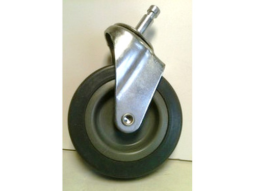 "3 Inch Caster with Push Stem (2 pack) These are heavy duty plated steel casters with a synthetic grey rubber wheel. The smooth stem (non-threaded) is 1 ¼"" deep approximately.    These casters fit most Trash Can receptacle dollies - 20 gallon can, 32 gallon can, 44 gallon can or 55 gallon can."