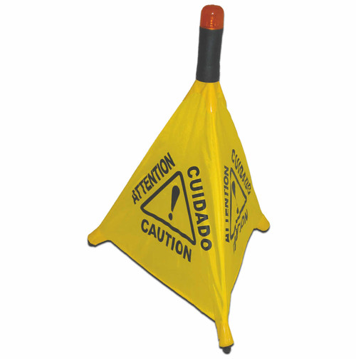The  Caution Sign Pop-Up-Multi Lingual 3 Sided has a Flashing Warning Light available on this website; this Optional Light Flashes 1500 times in 24 Hours & is Visible for 850 Feet.