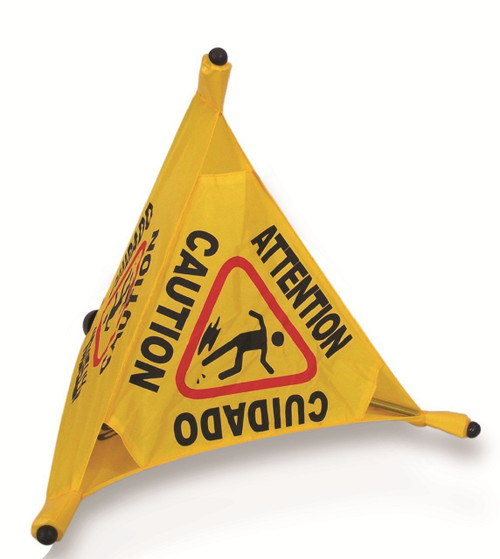 "20"" x 11"" Three-Sided Caution cone. Folds tight for storage in holster or transport on carts.   Yellow with Red Logo & Black Lettering"