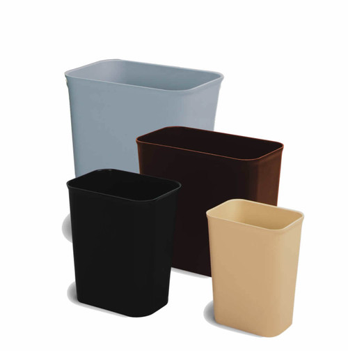 Fire-resistant, UL Listed, wastebaskets come 2 same sized cans per order. Choose from colors Black, Brown, Grey, or Sand.