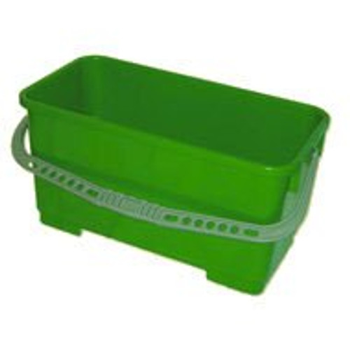 6 Gallon Rectangular Bucket with Handle ships without  attached, but placed inside cavity for shipment safety.  Rectangular Bucket  comfortably accepts 18 inch mop or window t-bar or  squeegee.