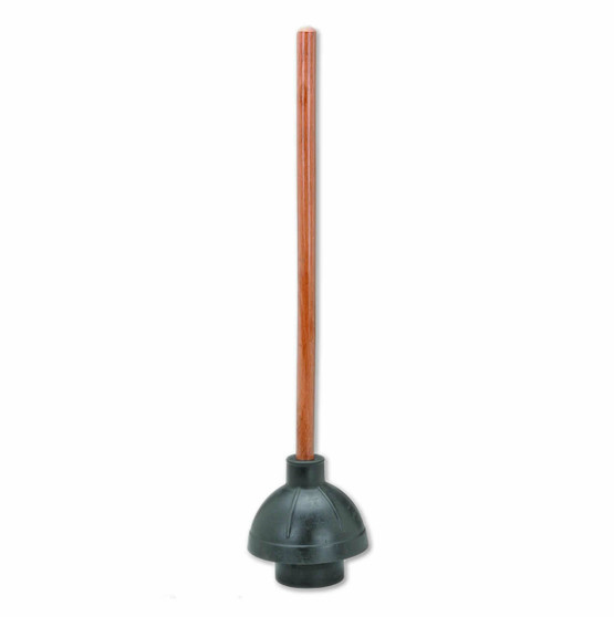 """Plunger with large 6"""" rubber bell blows through clogs  and has a 21"""" Wood Handle.Minimum Order: 2 plungers."""