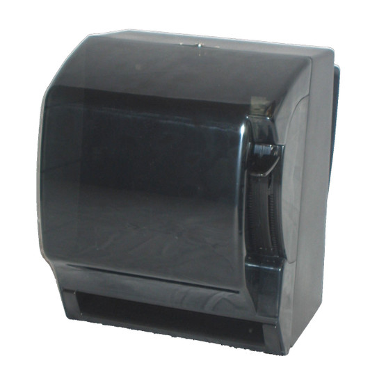 """Lever Roll Towel Dispenser isMade of translucent smoke black resilient plastic. The unique variable towel slot panel eliminates wasted towels. Offers a double-latchMetal lock with key. 300 C-fold, 500M-fold capacity.  Compact, economical towel dispenser holds all types of roll towels having a standard 1.5"""" core; it accommodatesMost 8"""" wide rolls. Paper is dispensed in 5"""" increments."""