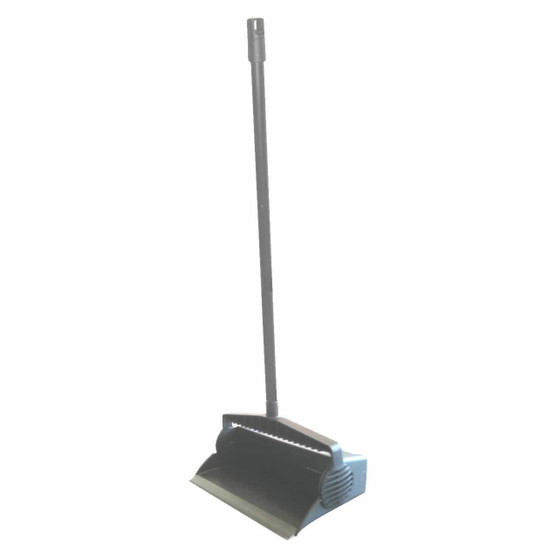 """Lobby Dustpan is a 12"""" durable plastic w/rubber strip for good contact with floor allowing pickup of fine dust and Liquids! The Handle is Vinyl coated Steel and comes w/ Hanger & Broom Clip. A Built-in broom comb isMolded into top pan opening, and a ratchet design holds pan in open or closed position. Overall dimensions are 13""""W x 14""""D x 33""""H."""