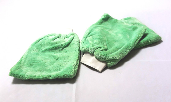 """Microfiber Mitt in tightly woven Green for Cleaning for Dusting, Polishing, and Washing. Mitt is 7.5"""" x 9"""" with 2"""" Cuff. 38 grams per mitt."""