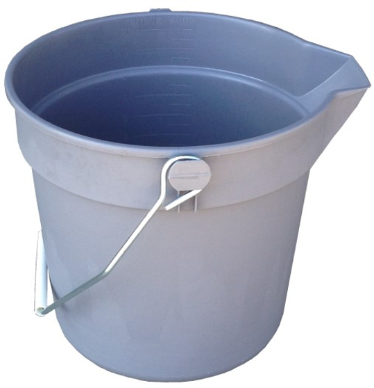 10 Quart Plastic Pail with Bail and molded graduations.