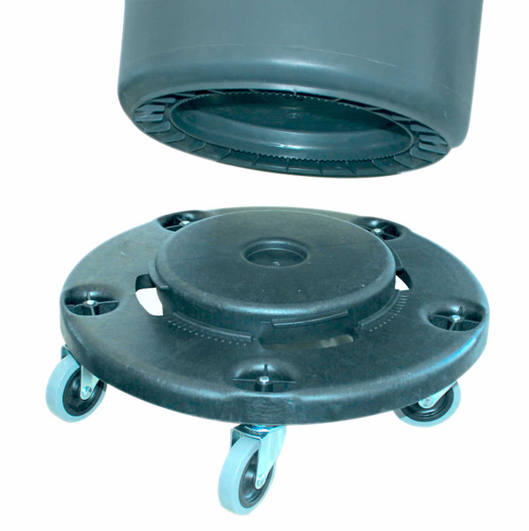 "Dolly for Round Receptacle is ""The twist-on, Twist-off Dolly"" for Round Receptacle converts a stationary Hulk or Huskee or Brute receptacle into a mobile hard working tool. Fits 20, 32, 44, and 55 gallon round receptacles. Features five replaceable three inch non-marking swivel casters. Each order contains 1 dolly.   Equivalent to Rubbermaid Item 2640."