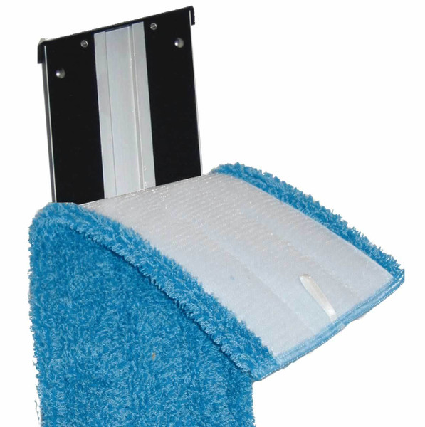 """Dust Grid Frame with Nylon Hooked Tape for Flat Micro Fiber Mops.  A Superior Substitute for Standard Dust Flat-mop Frames for Institutional application. 1"""" x 1"""" Nylon Hooked Tape tabs adhere Microfiber pad to base."""