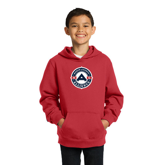 NCA Youth Hoodie, Front - Red
