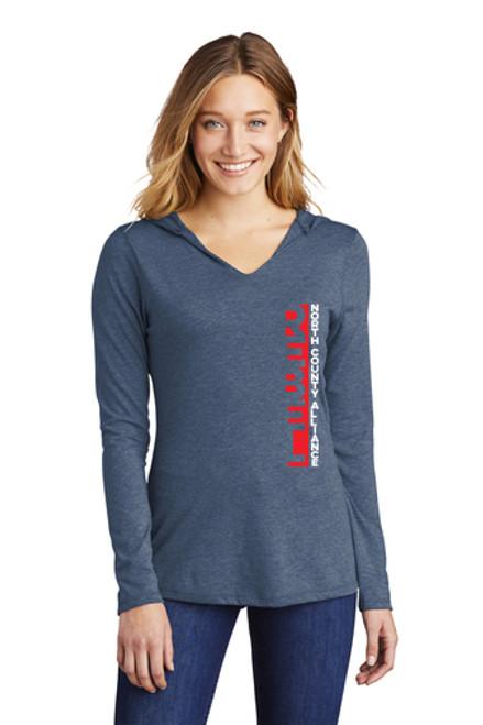 NCA Womens Hooded Longsleeve Fan T-shirt : Vertical Rebels Logo