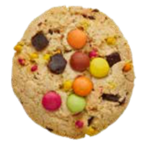 A playfully coloured cookie dotted with hard coated chocolate pieces.