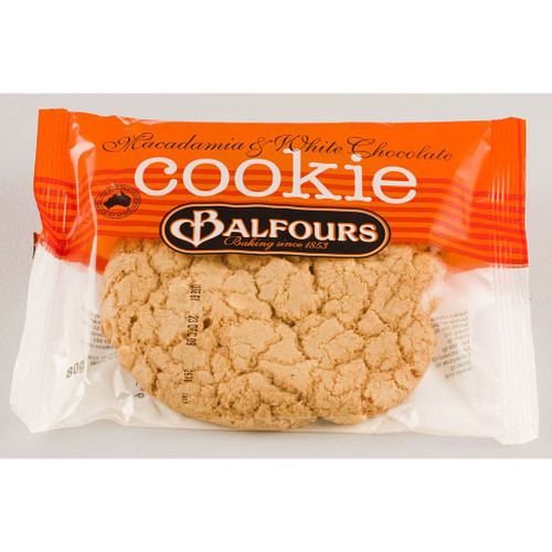 An individually wrapped cookie. Balfours cookie is packed with macadamia and white chocolate.
