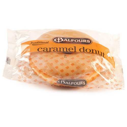 An individually wrapped donut glazed with the perfect amount of caramel.