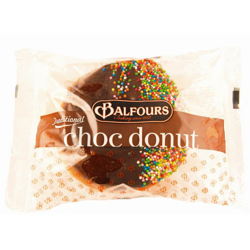 An individually wrapped chocolate glazed donut. Sprinkled with hundreds and thousands.