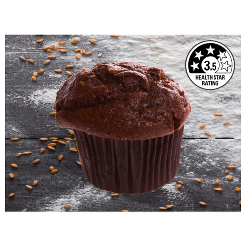 A rich chocolate muffin with cocoa. A great product which is 3.5 stars.