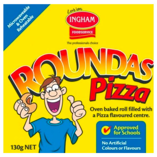 An old school favourite, pizza roundas are a fresh oven baked bread roll with a delicious pizza flavoured filling. Individually wrapped, which is why they are a great idea for school canteens.