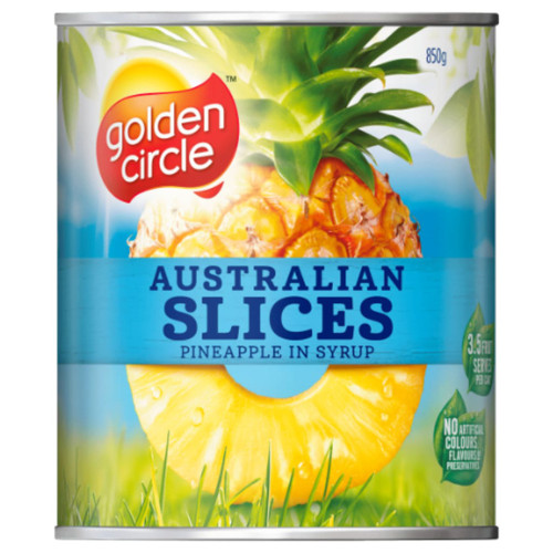 Golden Circle Australian pineapple syrup in juices contains no artificial colours or flavours.