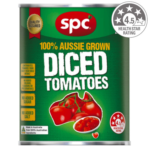 SPC diced tomatoes contain no added colours, flavours or preservatives.