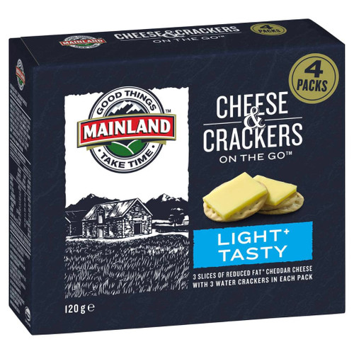Need a great tasting snack on the go? 3 slices of reduced fat cheddar cheese with 3 water crackers in each pack.