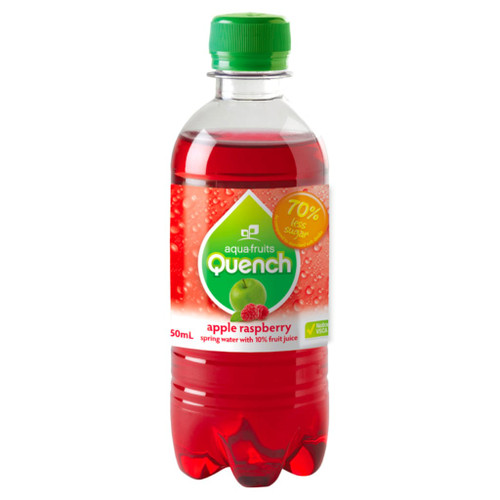 A fun apple-raspberry flavour sparkling water. Perfect for school canteens. Quench is made from natural fruit juice and spring water. Low in sugar and no caffeine.