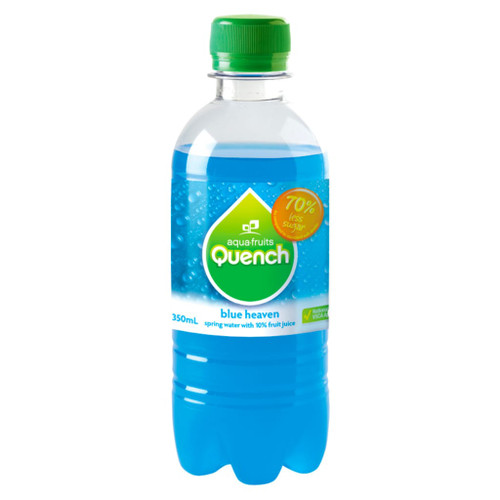 A favourite amongst kids is our blue heaven flavour sparkling water. Perfect for school canteens. Quench is made from natural fruit juice and spring water. Low in sugar and no caffeine.