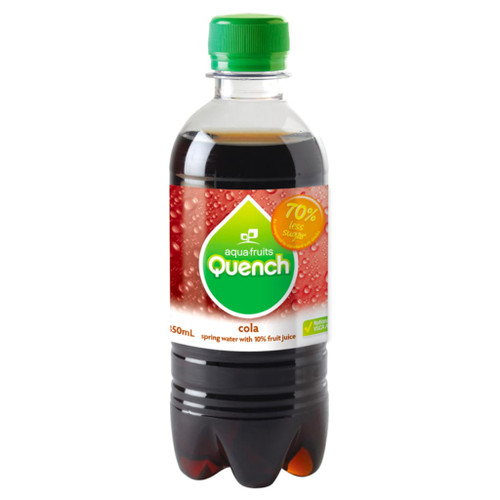 Another tasty favourite is our cola flavour sparkling water. Perfect for school canteens. Quench is made from natural fruit juice and spring water. Low in sugar and no caffeine.
