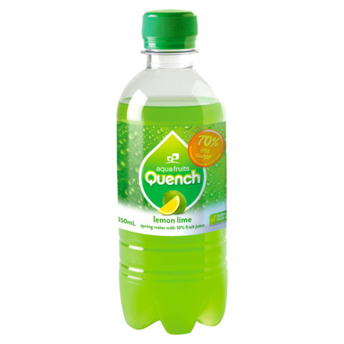 A tasty lemon-lime flavour sparkling water. Perfect for school canteens. Quench is made from natural fruit juice and spring water. Low in sugar and no caffeine.