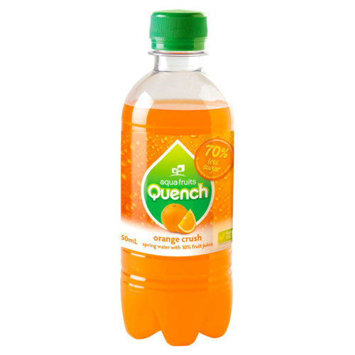 A refreshing orange flavour sparkling water. Perfect for school canteens. Quench is made from natural fruit juice and spring water. Low in sugar and no caffeine.