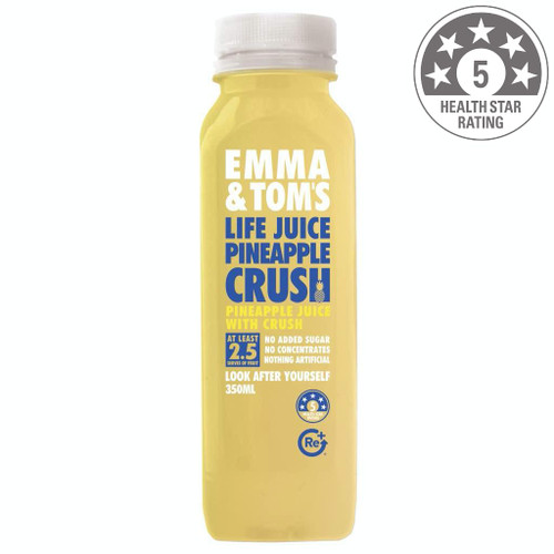 Shape up, get ready for summer. Emma & Tom's new Pineapple Crush. Ingredients: 100% Australian pineapple, vitamin C.