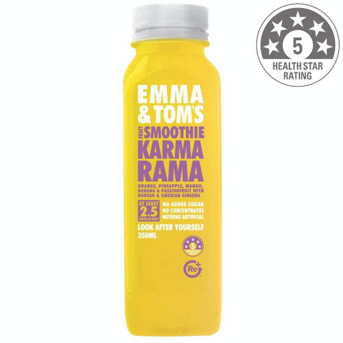 Undoubtedly one of our most popular smoothies, Karmarama works with the quintessential combination of mango, banana, pineapple and Passion Fruit. The addition of ginseng helps to promote relaxation, reduce stress and enhance mental clarity. Consider this tropical mix a bottle of good karma. Ingredients: Orange juice, pineapple juice, mango puree, banana puree, Passion Fruit pulp, Siberian ginseng, Korean ginseng.