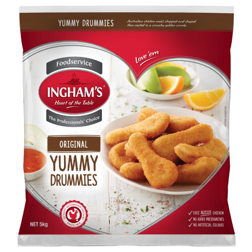 Yummy Drummies are made from prime quality chicken meat formed and coated in a golden crumb. Great shape for kids at tuckshops or as after school snacks.