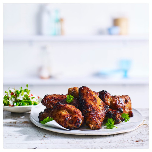 The delicious Texan style BBQ wings are evenly marinated and roasted to perfection.