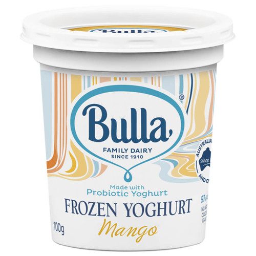 Bulla Frozen Yoghurt Mango cups are made with probiotic yoghurt, real fruit and are 97% fat free.
