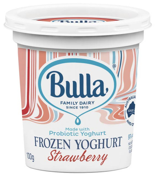 Bulla Frozen Yoghurt Strawberry cups are made with probiotic yoghurt, real fruit and are 97% fat free.