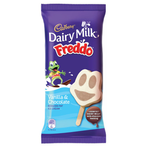 A delicious creamy vanilla and chocolate flavoured Freddo face shaped stick, backed with Cadbury Dairy Milk chocolate.