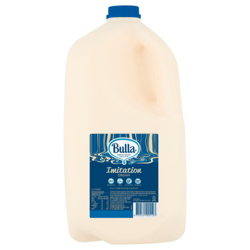 Bulla Sweetened Imitation Cream is a pre-sweetened, vegetable fat based imitation cream with 38% less fat than dairy cream. Bulla Sweetened Imitation Cream combines excellent over-run, holds qualities long term when refrigerated and will not crack or bleed.