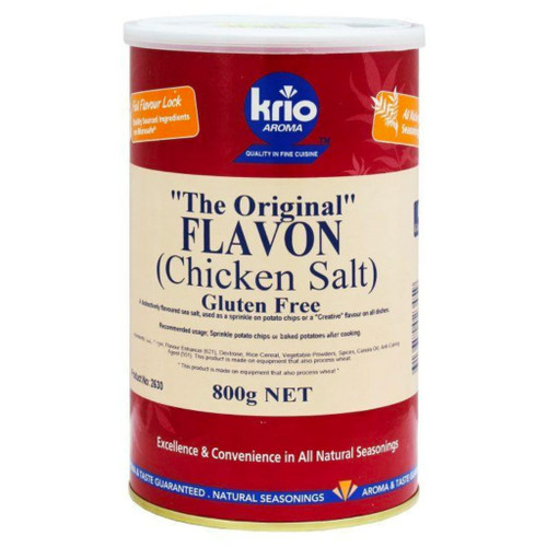 Krio Krush was the first company to create and develop the original Flavon chicken salt for the Australian market. With a coarser balanced chicken flavour.